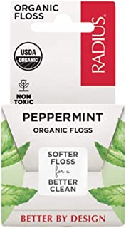 RADIUS USDA Organic Peppermint Dental Floss, 55 yards, Plastic-Free Packaging, Non-Toxic and Designed to Help Fight Plaque