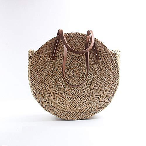 WOKJBGE Straw Beach Bag 40X40X10Cm Mand Bag Vrouwen Hand Geweven Ronde Rieten Tassen Ovaal Strand Tas Grote Taart Cirkel Handtas