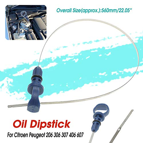 YUSHHO56T Olie Dip Stick Auto Interieur Onderdelen Dip Stick Auto Voertuig Motorolie Dip Stick voor Citroen C5 Peugeot 206 306 307 406 607 - Blauw