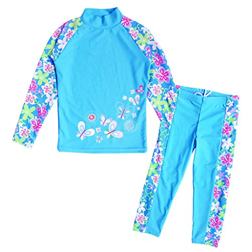 BAOHULU Girls Swimsuit Two Piece Tankini UPF 50+ UV Protective Rash Guard Set 3-12 Years S240_BlueLong_12A