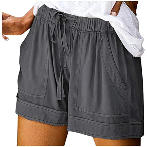 Pantalones Cortos De Playa con Bolsillo EláStico Cordones Color SóLido Verano para Mujer, Mujer Pijama Deportivos Jogging Ribete Volantes Yoga Y Fitness Pantalones Deportes Suave Transpirable