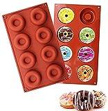 Moldes de silicona para donuts,molde para donut de silicona,moldes para dónuts 2 piezas silicone donut moldes con 8cavidad para pasteles, galletas, rosquillas, muffins (rojo )