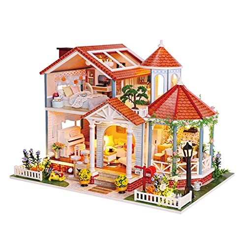 perfeclan Kit de casa de muñecas Miniatura DIY para Adultos con Muebles de Arte romántico Regalo Mini casa de muñecas de Madera con luz Led Encantadora casa de