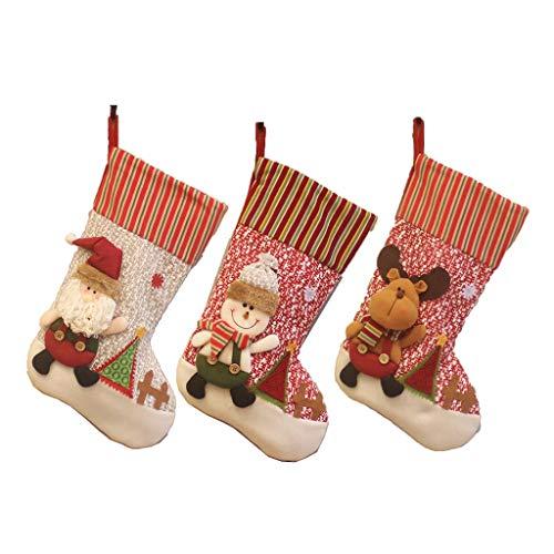 LiPengTaoShop Calza della Befana Decorazioni di Natale Flanella della Renna della Santa Pupazzo di Neve di Natale Personalizzata Calze Calze di Grandi Dimensioni (Color : Set of 3, Size : 24 * 48cm)