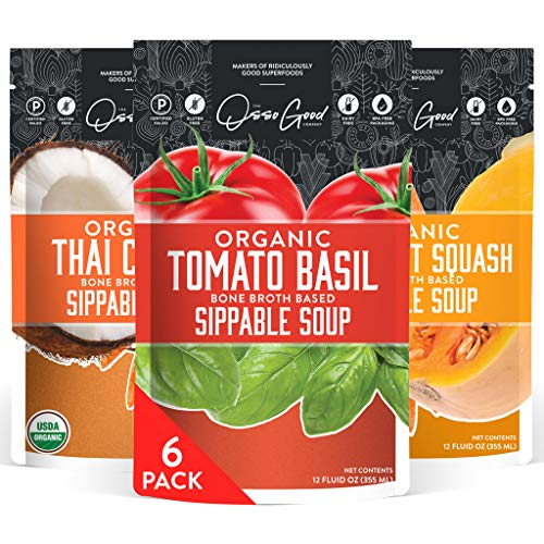 The Osso Good Co Variety Pack Organic Soup, Vegetables & Bone Broth, Plant Based Protein Diet, Paleo & Keto Certified, (6-12 Ounce Pouches)