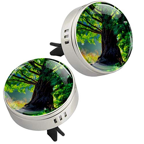 Old Tree Green 2 pcs silver Car Essential Oil Diffuser Vent Clip Aromatherapy Diffuser Locket Air Freshener with 4 Refill Pads 1.33x1.83in