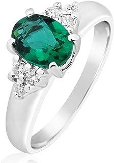 MILLE AMORI ∞ - Anello di fidanzamento da donna in oro e diamanti ∞ oro bianco 9 kt 375 diamanti 0,12 Kt ∞ smeraldo sintet...