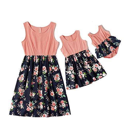 Eghunooye Mutter und Tochter Kleider 2020 Mama und Kind Ärmellos Sommerkleid Blumendruck Strankleid Familie Kleidung Partnerlook Matching Kleider Outfits (Kinder, 3-4Jahre)