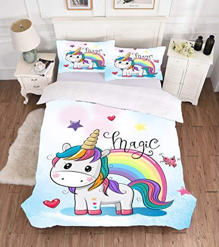 Dszltf 3-teiliger super Netter Bettdecke mit weißem Einhorn Regenbogen doppelt übergroßen Bettbezug für Kinder, 2 Kissen und weiche atmungsaktive Mikrofaser-Bettbezug,135 * 200cm