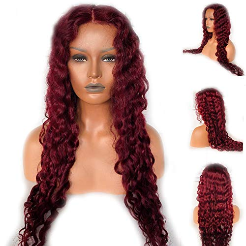 JPDP Red Color Deep Wave Wig Pre Plucked With Baby Hair Glueless Remy Brazilian 99j Burgundy 13x4 Lace Front Hair Wig 20inches Red