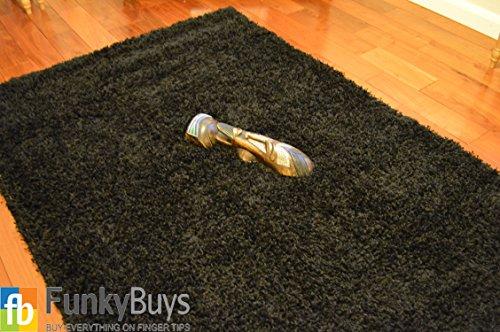 FunkyBuys Shaggy Rug Plain 5 cm Thick Soft Pile Modern 100% Berclon Twist Fibre Non-Shed Polypropylene Heat Set - Available In 6 Sizes On Amazon (Black, 160 cm x 230 cm (5feet 3 Inch x 7feet 7 Inch))