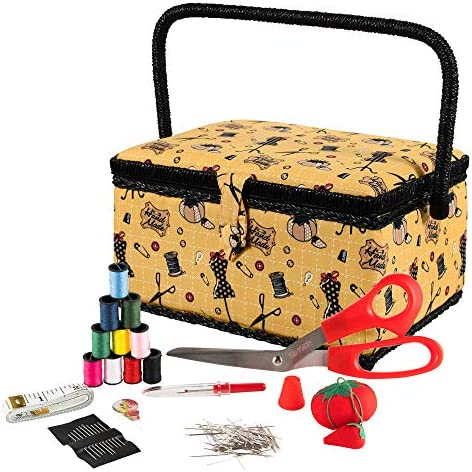 SINGER Sewing Basket with Sewing Kit Accessories Yellow Vintage product image
