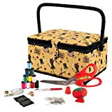 Singer Vintage Sewing Basket Sewing Kit (Yellow)