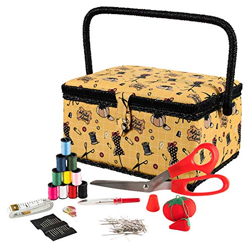SINGER Sewing Basket with Sewing Kit Accessories (Yellow)
