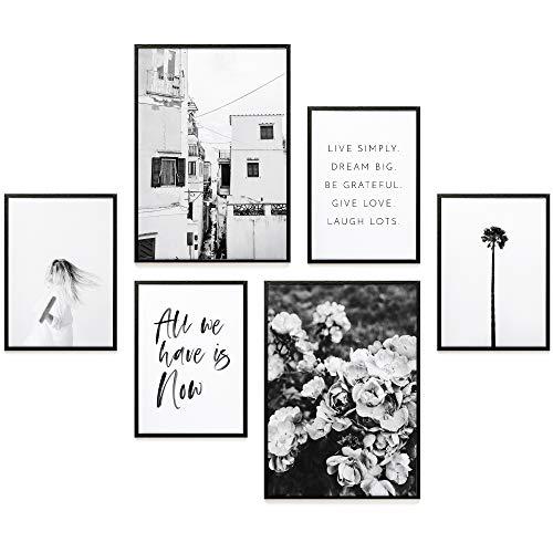 Heimlich® Premium Poster Set | Stilvolles Set mit passenden Bilder als Wohnzimmer Deko | 2 x DIN A3 & 4 x DIN A4 - ca. 30x40 & 20x30 | ohne Bilderrahmen » All We Have is Now «
