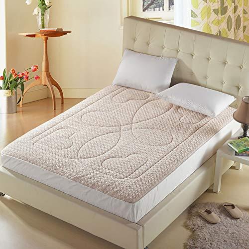 UNILIFE Rosa Terciopelo Simmons Colchón Ensenada de protección Topper, Plegable Tatami Sleeping Pad Cómodo Doble Cama alfombras Futón-A 180x200x4cm