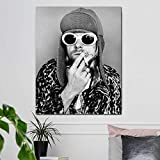 Banda de música rock Nirvana Cantante principal Guitarrista Kurt Cobain Negro Blanco Fotos HD Lienzo Pintura Arte de la pared Póster Dormitorio Bar Studio Club Decoración para el hogar Mural