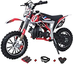 X-PRO Bolt 50cc Dirt Bike Gas Dirt Bike Kids Dirt Bikes Pit Bikes Youth Dirt Pitbike with Gloves, Goggle and Handgrip,Red