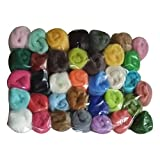 Fibres de laine 36couleurs pour les activités de feutrage à l'aiguille 3 g chaque couleur