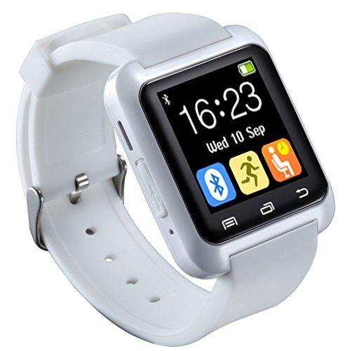 U80 Smart Watch Bluetooth 4.0 per sport e salute anti-smarrimento orologio da polso Mate per smartphone IOS Android Apple iPhone 5/5C/5S/6/6 Puls (bianco)