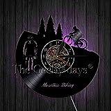 LED de colores Reloj de pared de vinilo gato Ciclismo reloj de pared ciclista silueta vinilo arte de la pared decoración carreras bicicleta ciclista reloj mejor idea de regalo rega