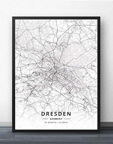 ZWXDMY Leinwand Bild,Deutschland Dresden Stadtplan Drucken Schwarz Und Weiß Einfach Text Canvas Poster Malerei Wandbild Rahmenlose Wohnzimmer Coffee Shop Home Dekoration, 20 × 30 cm