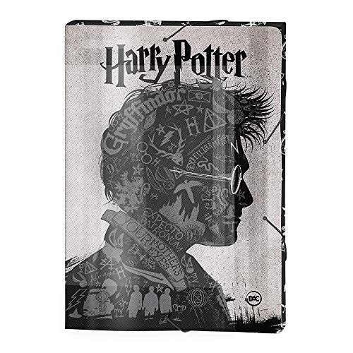 Pasta Aba Elástica com lombo 30mm - Ofício Harry Potter, Harry Potter, Pasta Aba Elástica com lombo 30mm - Ofício Harry Potter 2979, Preto e Branco