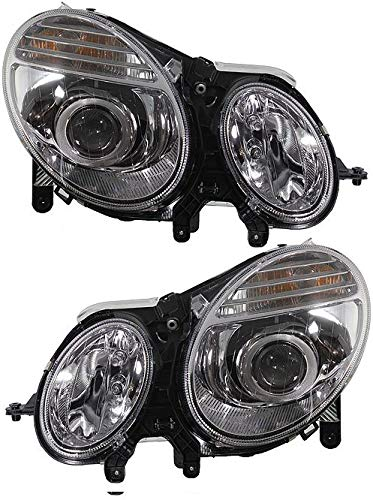 Headlight Compatible with 2007 Mercedes Benz E280 Pair Halogen with Bulbs Clear Lens