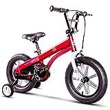 Axdwfd Bici per Bambini Bicicletta 14 16 Pollici, Telaio in Alluminio Leggero Bicicletta per Ragazzo, Bicicletta per Bambini con Ruote da Allenamento, Regalo per Bambini 2-8 Anni Rosso (Size : 14in)
