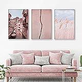 Póster de lienzo de paisaje nórdico, edificio rosa, barco de Venecia, arte de pared, pintura en lienzo, imagen escandinava, sala de estar, decoración del hogar, 50x70cmx3 sin marco