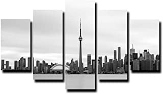 ZQ.ZHAO Wall Art 5 Pieces Famous City Building Landscape Paintings Canvas Modular Toronto Skyline Images Poster Printed Home Decoration Wall Art (Size 1) Frameless