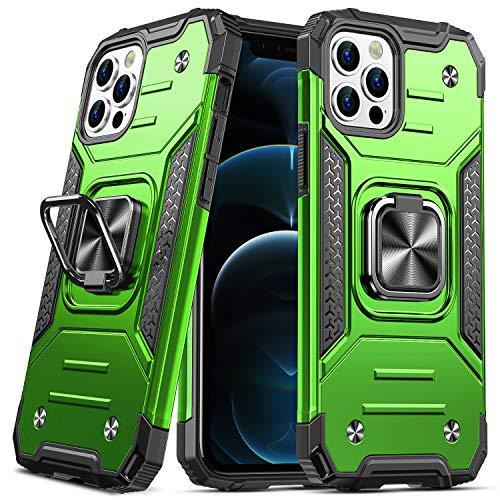 DASFOND Diseñado para iPhone 12/iPhone 12 Pro Funda, Funda Protectora de Grado Militar para teléfono con Soporte Mejorado [Soporte magnético] para iPhone 12/iPhone 12 Pro de 6,1'', Verde Hierb