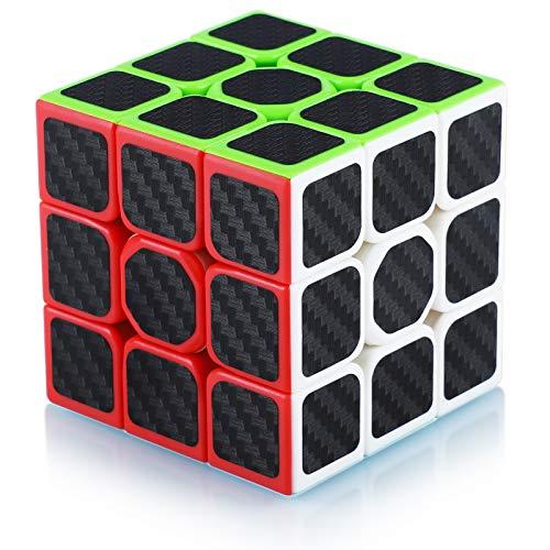 Cube de Vitesse Magique 3x3 3x3x3 Speed Cube Magic Cube Fibre de Carbone Autocollant Cadeau de Vacances pour Enfants Adultes Noir