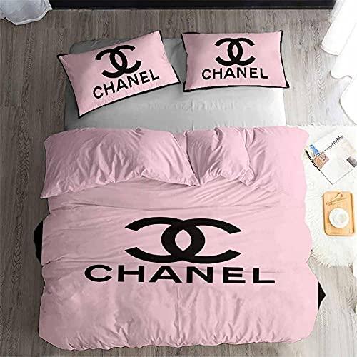 Ropa De Cama 155 × 220 Cm Chanel De Moda Rosa Juego De Funda Nórdica 3 Piezas Funda Nórdica De Microfibra Suave para Adultos Y Niños con Cremallera Y 2 Fundas De Almohada De 50 X 75 Cm