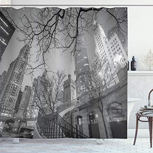"""Ambesonne Black and White Shower Curtain, Chicago City Downtown Nighttime Highrise Buildings Tree Branches, Cloth Fabric Bathroom Decor Set with Hooks, 75"""" Long, Grey Black"""