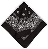 ZYDQQ Bandanas para hombres y mujeres – Bandana de cachemira de algodón – Pañuelo para la cabeza de doble cara impresión novedad envoltura, negro