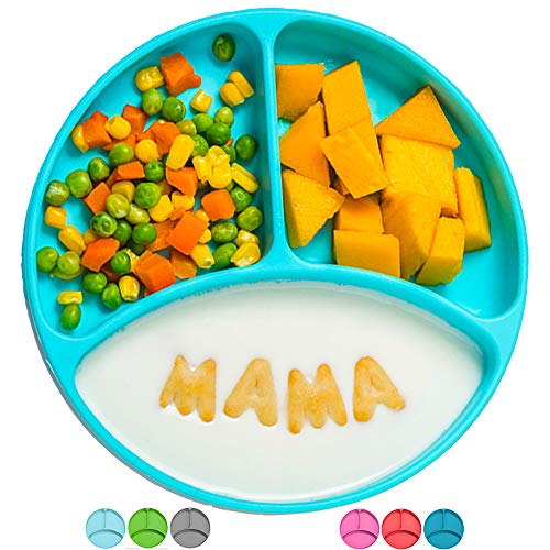 Silicone Suction Plates for Babies, Stick to High Chair Trays and Table, Divided Baby Dishes, Perfect Kids Plates, BPA Free