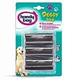Handy Bag 3 Rouleaux de 12 Sacs, Pour Déjections Canines 3 L, Doggy Bag, Format Compact, Pack de 3 Rouleaux, Noir, Opaque