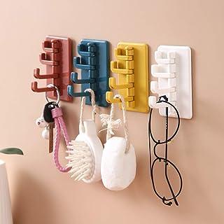 WhatUneed 4 ganci autoadesivi da parete da appendere alla porta con 4 ganci per appendere cappotti, asciugamani, chiavi di...