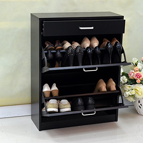 GLS Black Modern Shoe Cabinet with Doors Wooden Rack Chest for Entryway