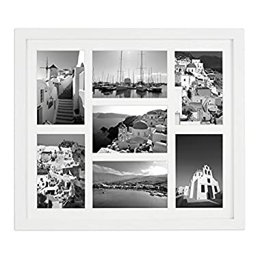 Golden State Art 13.7x15.7 Matted White Wood 7-Opening for 4x6 Collage Picture Frame