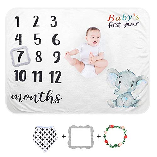 Sunvito Baby Milestone Blanket for Baby Girl, Baby Photo Blanket for Newborn Baby Shower, Extra Soft Baby Month Blanket, Includes Premium Drool Bib + 2 Frames