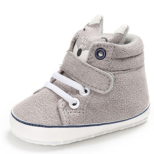 Fossen Niño bebés zorro Corte alto Zapatillas Antideslizante Suela blanda Zapatos (12-18 meses, Gris)