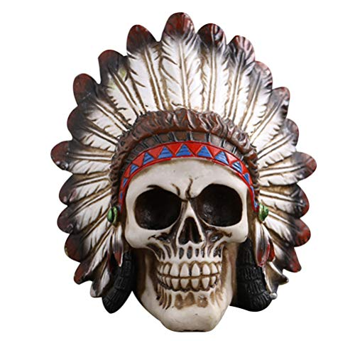 VOSAREA Indians Skull Ornament Resin Scary Skull Figurines Skull Head for Haunted House Party Decoration Props