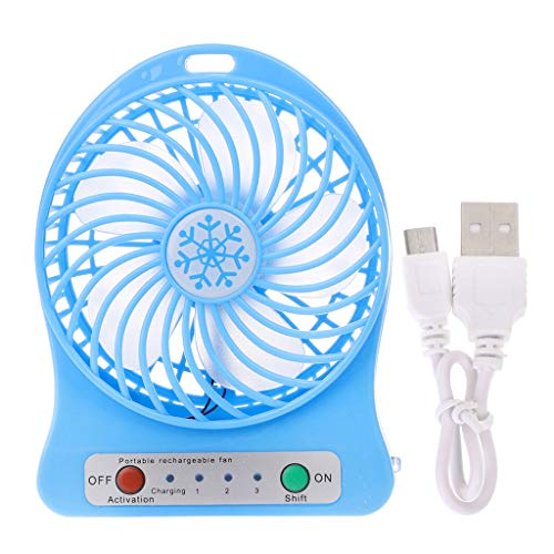 HOT Verkoop Draagbare LED Licht Ventilator Luchtkoeler Mini Bureau USB Ventilator Derde Wind USB Ventilator Blauw