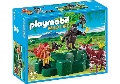 Playmobil Wild Life - Kit di statuine giocattolo per bambini 'Gorillas and Okapis with Film Maker', 4 anni, Bambino, 10 anni