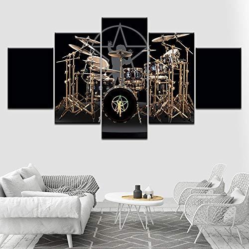 Tacbz muziekinstrument, trommel, 5 stuks, olieverfschilderij, behang, modern schilderen, modulaire woonkamerdecoratie, 150 x 100 cm