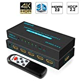 SGEYR 4K 5x1 HDMI Switch V2.0 5 puertos HDMI Switcher 5 en 1 salida HDMI Selector Caja con IR Control Remoto Apoyo 4K 60HZ Ultra HD 3D 2160P 1080P para Xbox PS4 Pro HDMI2.0 HDCP2.2