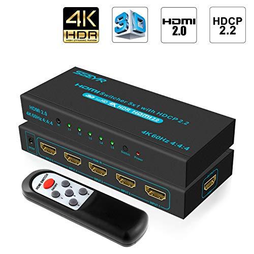 SGEYR 5x1 HDMI Switch 5 Entrées 1 Sortie Commutateur HDMI Intelligent à 5 Ports Sélecteur HDMI Répartiteur Charge HDCP2.2 4K@60Hz HDR 1080P 3D pour Xbox PS4 Pro/PS3
