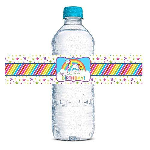 AmandaCreation Wasserflaschenaufkleber mit Regenbogen-Einhorn-Motiv, zum Aufkleben von Wasserflaschen, 50 Stück, 4,4 x 21,6 cm